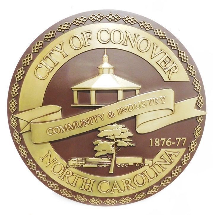 X33264 - Carved 3-D Brass-Plated HDU Plaque of the Seal of the City of Conover, North Carolina