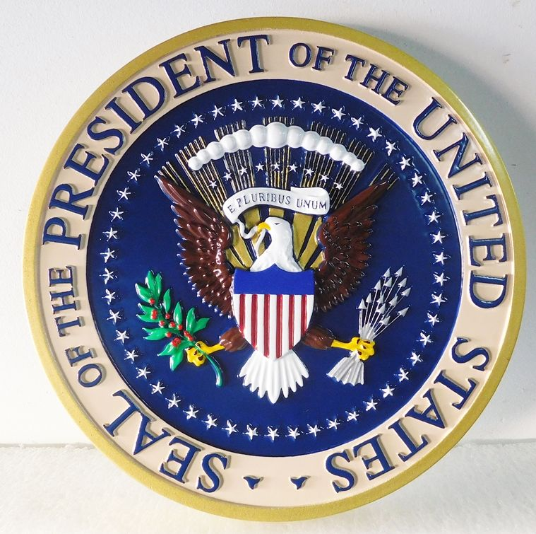 AP-1160 -  Carved Plaque of the Seal of the President of the  United States, Artist Painted