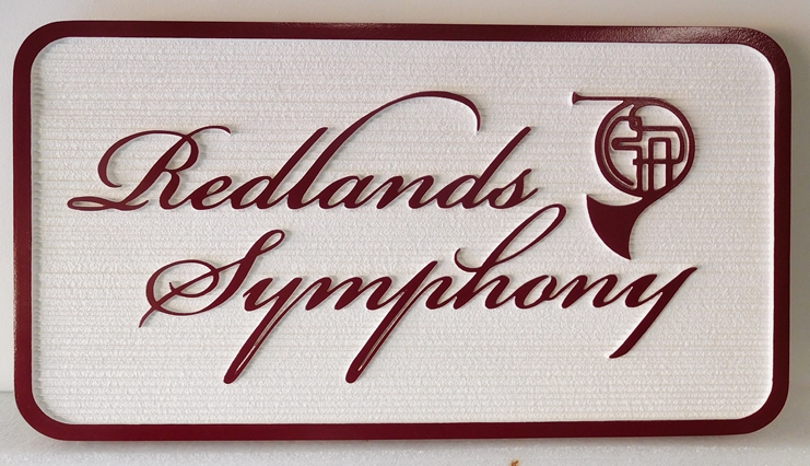 """SA28810 - Carved High-Density-Urethane (HDU)  Sign for the """"Redlands Symphony"""", with a French Horn as Artwork"""