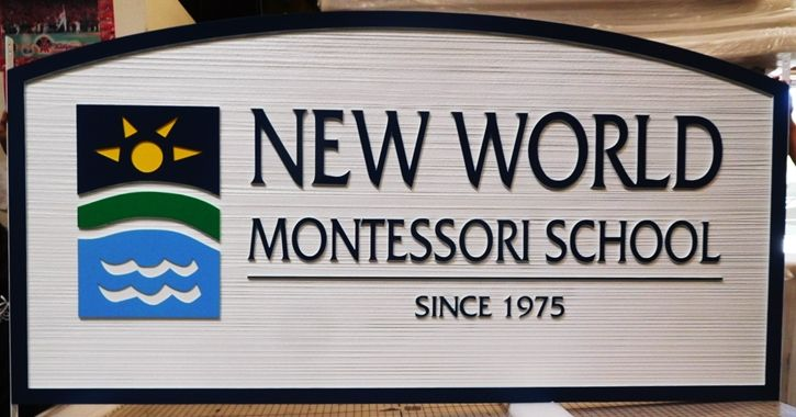 "FA15703 - Carved and Sandblasted Wood Grain  HDU  Sign for the ""New World Montessori School"", 2.5-D Artist-Painted with Sun-Earth-Water Logo"
