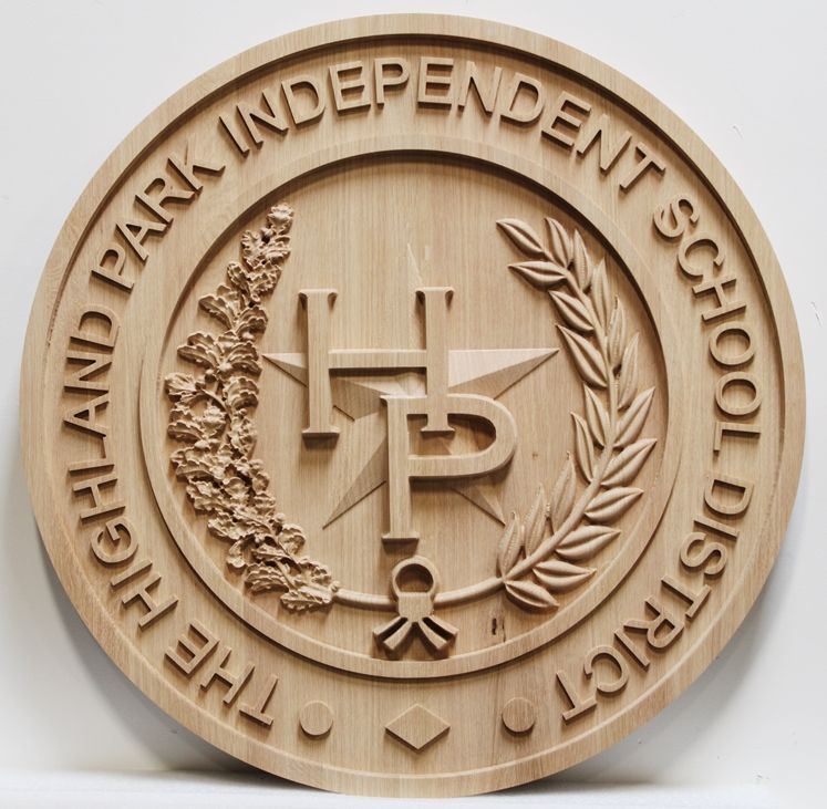 TP-1165 - Carved Maple Wood Wall Plaque of the Seal ofthe Highland Park Independent School District, University Park, Texas