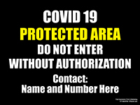 """18"""" x 24"""" COVID Protected Area Metal sign with custom contact info area"""