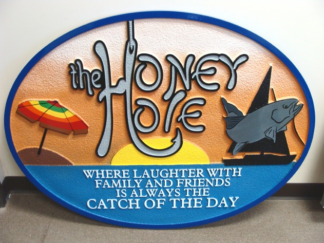 "L21342 - Carved Beach House Sign ""Honey Hole"" with Fish and Sailboat"