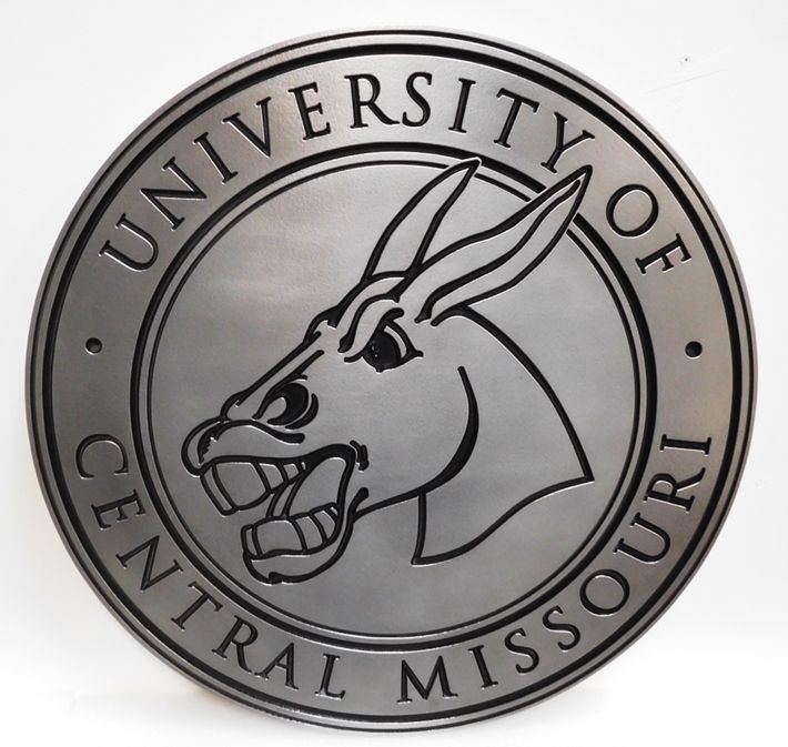 RP-1515 - Carved Plaque of the Logo of the University of Central Missouri, a Mule, 2.5D Engraved Aluminum Plated