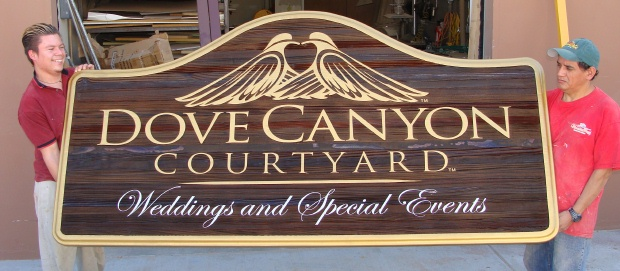 "M5124 - Carved Cedar Wood Sign for ""Dove Canyon Courtyard Weddings and Special Events"" with 2 Carved Doves"