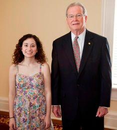 """Senate Majority Leader J.T. """"Jabo"""" Waggoner & Emily Cutler."""