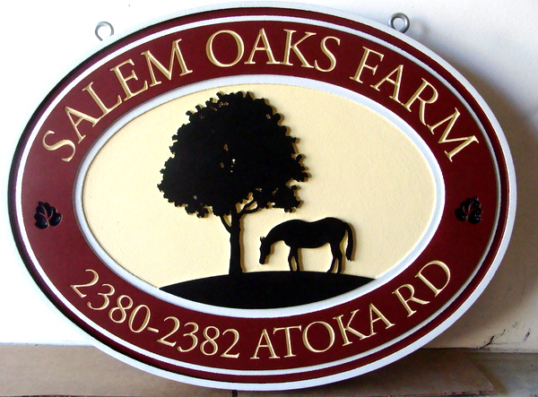 "O24223 - Carved HDU ""Salem Oaks Farm"" Address Sign, with Grazing Horse and Oak Tree"