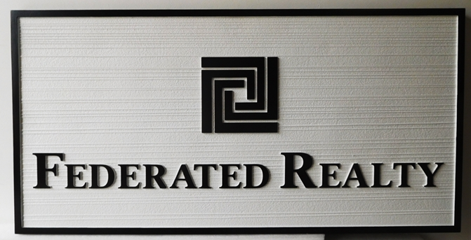 C12336 - Carved and Sandblasted HDU Sign for Federated Realty Company, 2.5-D Raided Text and Wood Grain Background