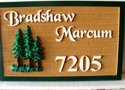 AG114  - Carved Natural-Looking Property Name and Address Sign for Mountain Cabin, with Carved 3-D Pine Trees