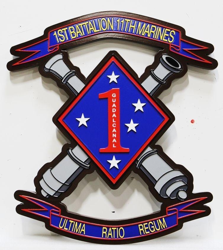 KP-2042 - Carved 2.5-D HDU Crest of the 1st Battalion, 11th Regiment, 1st Marine Division
