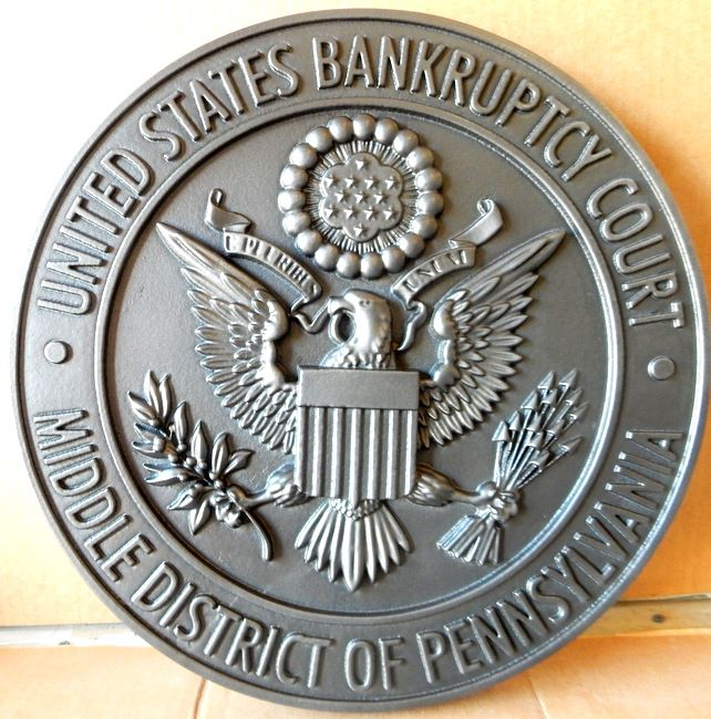 M7270 - Nickel-Silver Coated Wall Plaque for US Bankruptcy Court (no patina on background)