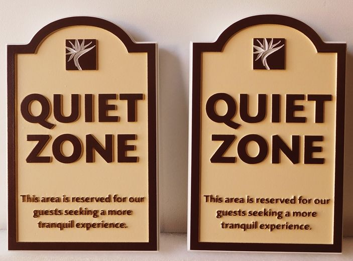 "T29454  - Carved ""Quiet Zone"" Signs  for a Hotel Complex"