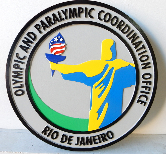 U30489 - Carved Wall Plaque for Olympic and Paralympic Coordination Office