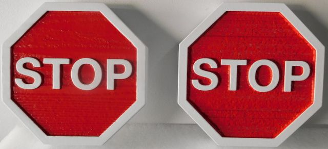 H17174 - Carved and Sandblasted HDU STOP Signs with Reflective White Paint