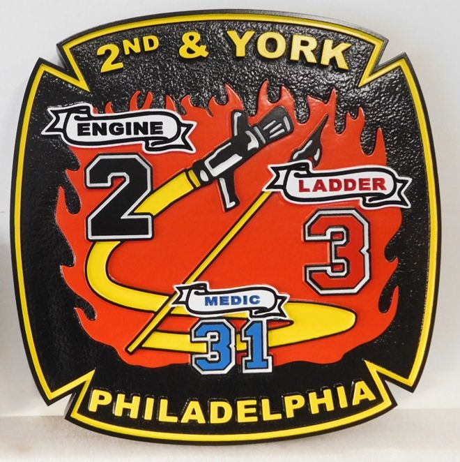 X33890 - Carved 2.5-D HDU Plaque of the Logo Shoulder Patch  of the Fire Engine 2, Ladder 3 ,2nd and York Station, Philedelphia Fire Department