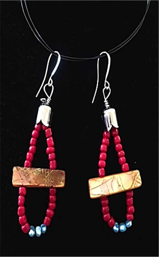 Gold pearl beads wrapped in red coral and aqua pearls earrings.