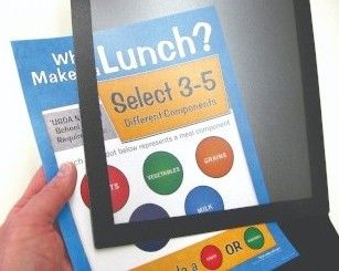 Counter top sign for USDA school lunch rules, what makes a lunch