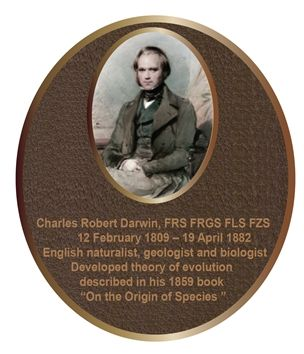 ZP-2050 - Carved Memorial Photo Plaque  for  Charles Darwin,  Painted  Light and Dark Bronze