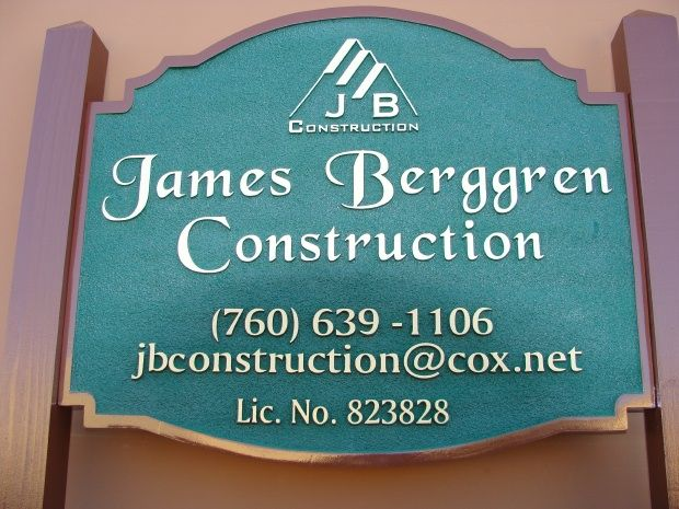 """S28045 - Carved HDU Sign  with Posts for  the  """"James Berggren Construction """" Company, with  Cedar Support Posts"""