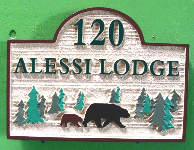 "T29095 - Carved  and Sandblasted Wood Grain HDU Sign for the ""Alessi Lodge"", with Bear and Trees as Artwork"