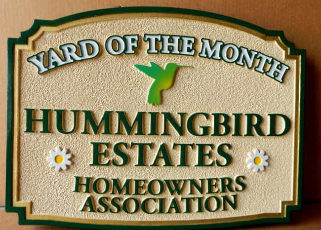 KA20914 - Carved and Sandblasted HDU Yard-of-the-Month Sign with Hummingbird and Flowers (Daisies)
