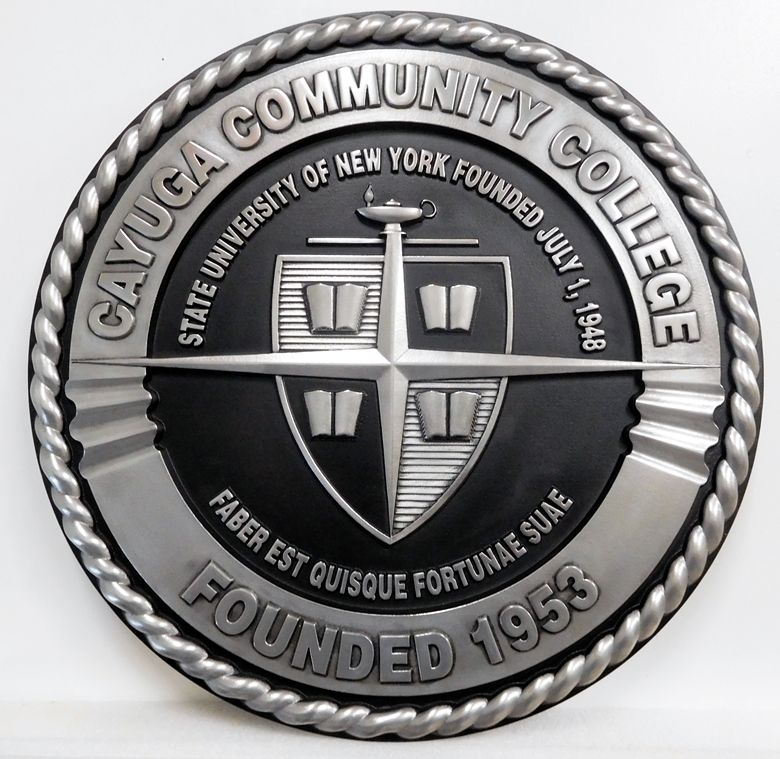 Y34333 - Carved 3-D Round Wall Plaque of the Seal of the Cayuga Community College, Aluminum-Coated