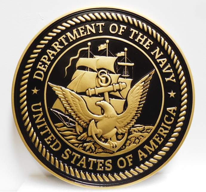 JP-1110 - Carved Plaque of the Great Seal of the US Navy, 3-D Painted Metallic Brass with Hand-rubbed Bl;ack