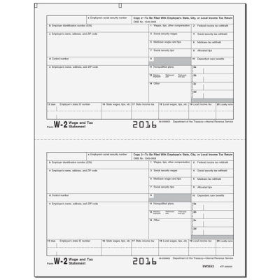 LW22 - Laser W2 Copy 2 - Copy 2 State/Local or Copy C Employee's Record