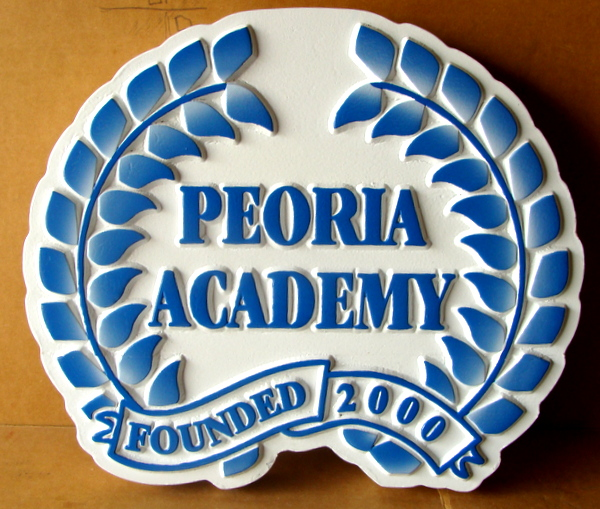 Y34790 - Carved 2.5-D  Flat-Relief HDU Wall Plaque of the Seal of Peoria Academy