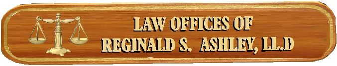 A10412 - Mahogany Attorney Sign with Carved 3-D Scales and Text