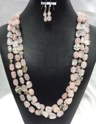 SD Chic Beads-Rose Quartz 3 Strands with Cross Beads