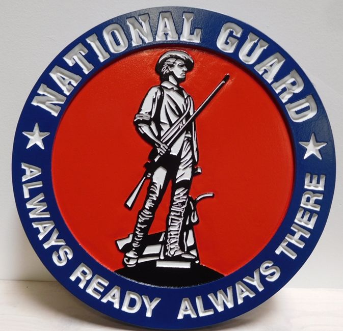 MP-1317- Carved Plaque of the Seal  of the US Army National Guard,  Artist Painted