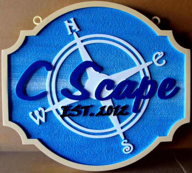 """L21749 -  Carved and Sandblasted HDU Sign """"C Scape"""" with Simple Compass Rose"""