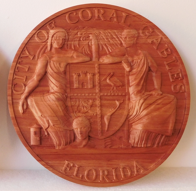 M3059 - Stained Mahogany Plaque of the Seal of  the City of Coral Gables (Gallery 33)
