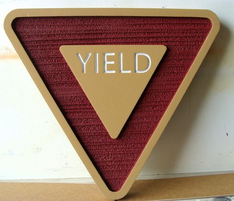H17184- Carved, Engraved and Sandblasted HDU YIELD Sign