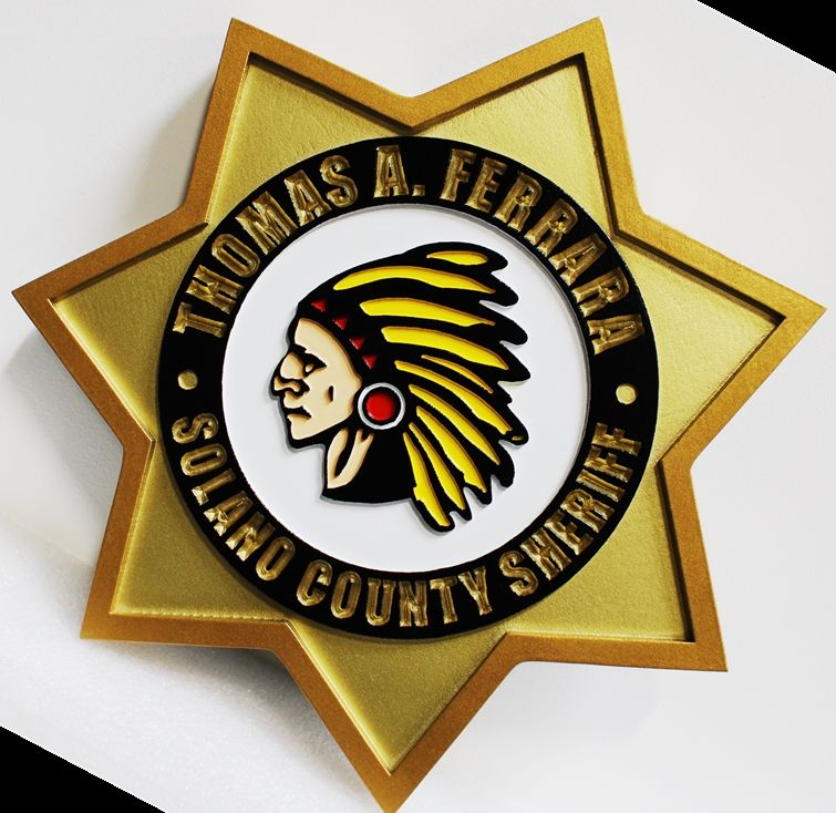 PP-1804 - Carved Plaque  of the Star Badge of the Sheriff of Solano County, California, 2.5-D Artist-Painted