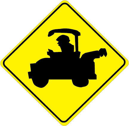 E14530A - Golf Cart Traffic Zone Sign Showing the Elevated Image of a Golf Cart  on a Bright Yellow Background