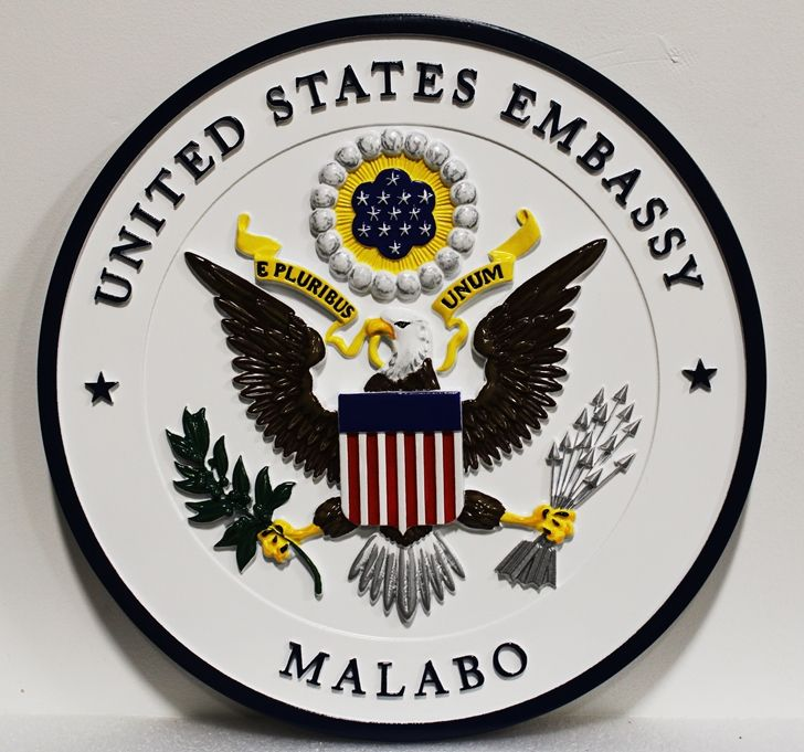 AP-3782 - Carved Plaque of the Seal of the US Embassy in Malabo, Equatorial Guinea, Artist Painted