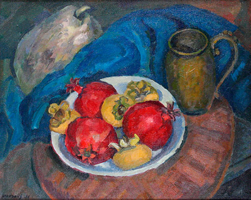 "Still Life Pomegranates, oil on canvas, 18"" x 24"""