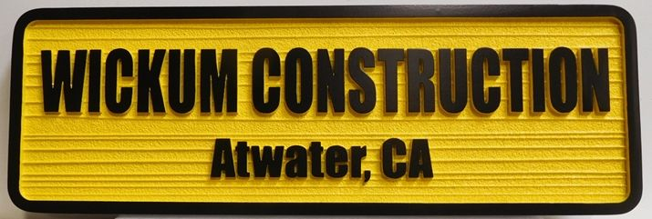 SA28820 - Carved  and Sandblasted Wood Grain  HDU sign for Wickum Construction in Georgia,  2.5-D Raised Relief Artist-Painted