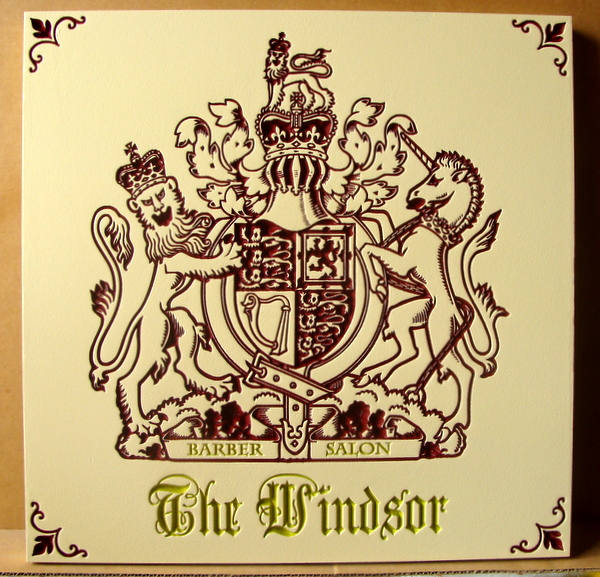 SA28005 - Barber Salon Sign with Coat-of-Arms with Lions and Unicorn