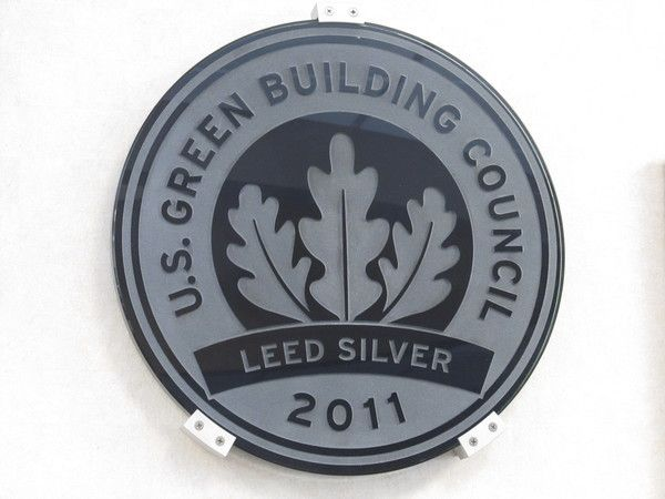 Office Wall Mounted Plaque, Dimentional, Etched Glass, LEED Green Award
