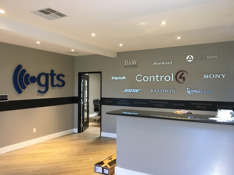 office wall signs  corporate lobby logos  wall murals