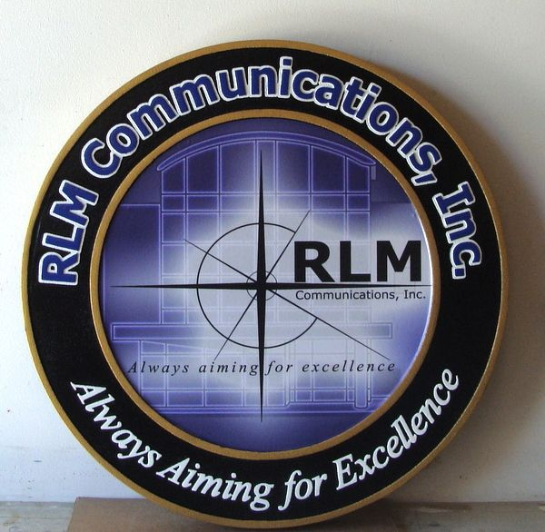 """SA28770 -  Carved HDU Sign for """"RLM Communications, Inc."""" with Logo and Motto """"Always Searching for Excellence"""""""