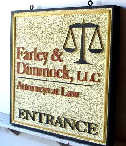 A10112 - Carved HDU Entrance Sign for Law Offices, with Scales of Justice