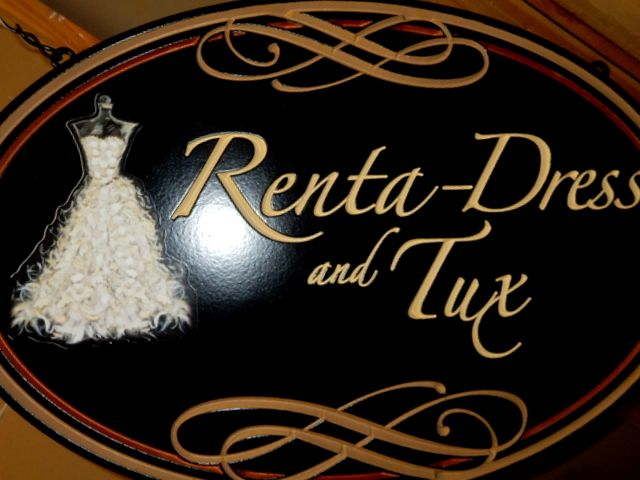 """SA28428 - Carved """"Renta Dress and Tux """" Store Sign . with Elegant Dress as Artwork"""