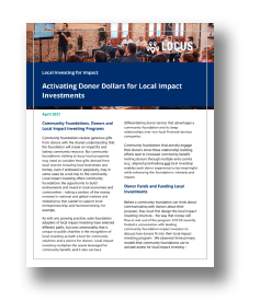 Session 2: Activating Donor Dollars for Local Impact Investments