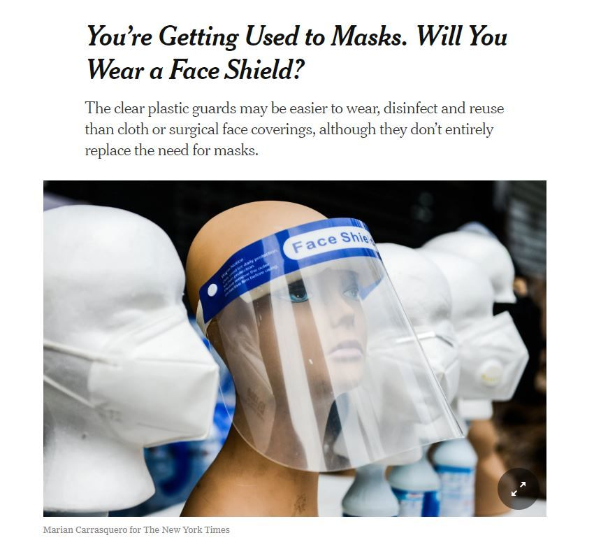 NY Times on Face Sheilds