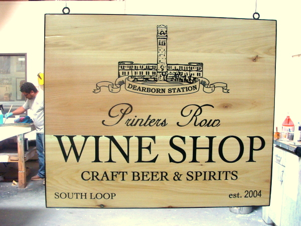 "RB27166 - Engraved Oak Sign for ""Printers Row Wine Shop"",with Craft Beer and Spirits"