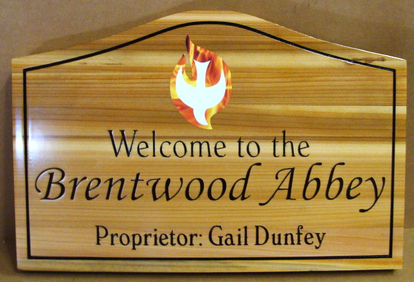 D13049 - Carved and Engraved Wood Sign for Brentwood Abbey, with Dove of Peace